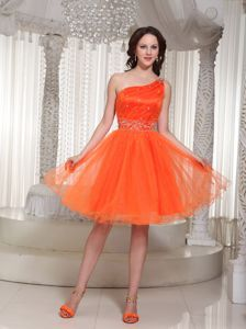 Organza Orange Cocktail Party Dresses One Shoulder with Beading
