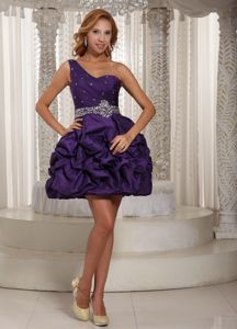 Eggplant Purple Cocktail Party Dresses with Beading and Pick-ups