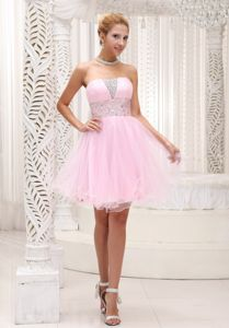 Beaded Baby Pink Cocktail Dress For Prom in Strapless Mini-length