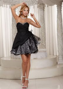 Black Leopard Sweetheart Cocktail Dress For Prom with Beading