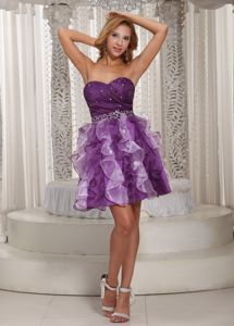 Beaded Eggplant Purple Homecoming Cocktail Dresses with Ruffles