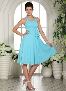 Halter Aqua Blue Chiffon Homecoming Cocktail Dresses with Sash