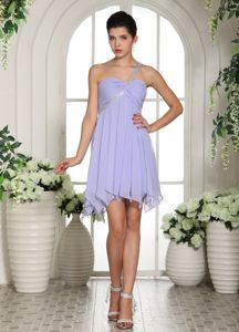 Beaded One Shoulder Lilac Homecoming Cocktail Dresses Chiffon