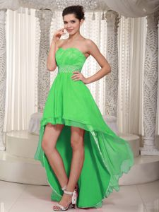 Spring Green Lace Evening Cocktail Dress High-low with Beading
