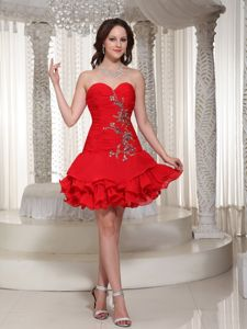 Beaded Sweetheart Cute Red Short Homecoming Cocktail Dresses