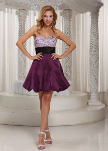 Sweetheart Beaded Cocktail Party Dresses with Belt in Dark Purple