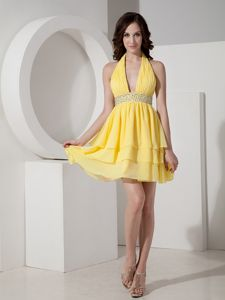 Yellow Prom Cocktail Dress Halter Chiffon with Beading Mini-length