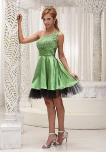 One Shoulder Beaded Prom Cocktail Dress with Ruches in Organza
