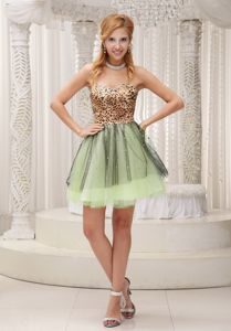 Leopard Tulle Beaded Homecoming Cocktail Dresses in Sweetheart