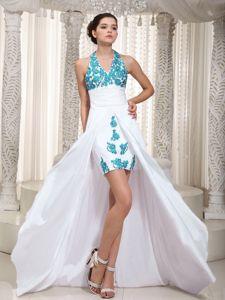 Appliqued White High Low Cocktail Dress with Halter Top Ruches