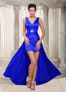 V-neck High-low Royal Blue Cocktail Party Dresses with Beading