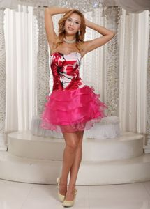 Hot Pink Ruched Cocktail Dress For Prom with Printing Mini-length