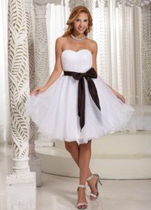 Sweetheart Ruched Organza Short Prom Cocktail Dress with Bow