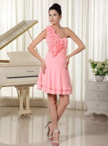 Watermelon Chiffon Semi-Formal Dress with Hand Made Flowers