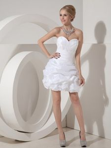 White Sweetheart Mini-length Cocktail Dress in Taffeta with Ruches