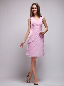 Pink V-neck Knee-length Cocktail Reception Dresses with Ruches