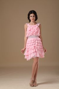 Pink Scoop Mini-length Chiffon Prom Cocktail Dress with Beading
