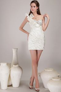One Shoulder Mini-length Prom Cocktail Dress with Beading in White