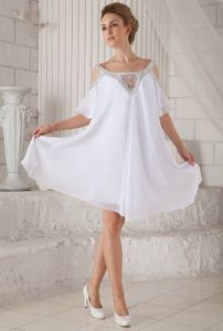 Off The Shoulder Knee-length White Cocktail Dress with Beadings
