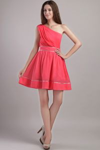 Coral Red One Shoulder Mini-length Prom Cocktail Dress in Chiffon