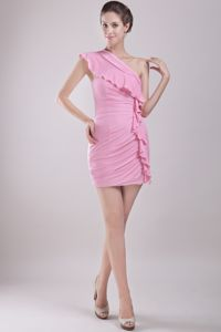 One Shoulder Chiffon Pink Cocktail Dress For Celebrity with Ruche