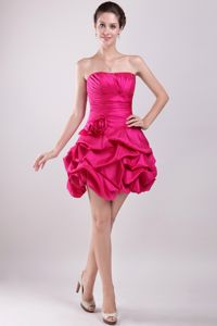 Strapless Cocktail Dresses Hot Pink Taffeta with Hand Made Flower
