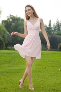 V-neck Mini-length Chiffon Ruched Prom Cocktail Dress Baby Pink