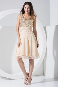 V-neck Knee-length Cocktail Dress with Sequins and Ruched Sash