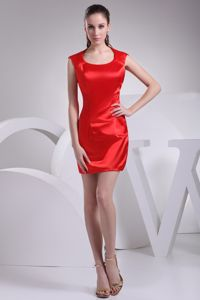Elegant Mini-length Prom Cocktail Dress Red with Scoop Neckline