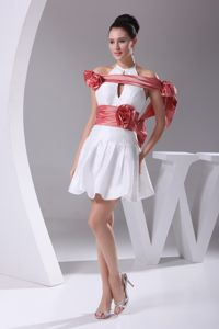 White Halter Evening Cocktail Dress with Hollow Out in Coral Red