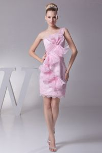 One Shoulder Pink Prom Cocktail Dress with Bowknot and Ruffles