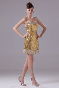 Gold Mini-length Sequined Evening Cocktail Dress with Beadings