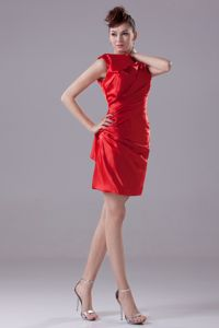 Ruched High Neck Sheath Mini-length Prom Cocktail Dress in Red