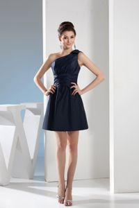 One Shoulder Mini Length Cocktail Party Dresses in Navy Blue