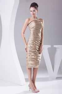 Champagne Strapless Tea-length Cocktail Dress for Prom with Ruches