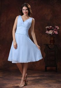 Sky Blue V-neck Beading Ruche Cocktail Dress for Celebrity Hot Sale