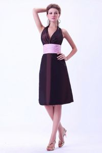 Plus Size Taffeta Halter Top Cocktail Party Dress with Ruched Waist