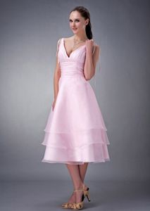 New Tea-length V-neck Ruche Cocktail Reception Dress in Baby Pink