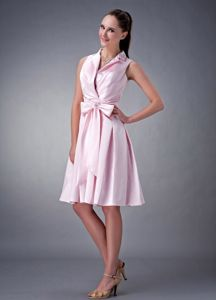 Baby Pink Knee-length Evening Cocktail Dresses with Collar and Bow