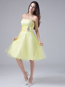 Yellow Strapless Beading Ruche Cocktail Dress for Prom in Organza