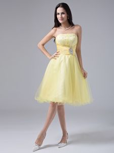 Organza Light Yellow Strapless Ruche Cocktails Dresses with Beading