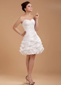 Princess White Sweetheart Ruche Prom Cocktail Dress with Pick-ups