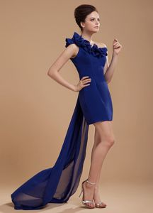 Watteau Train Royal Blue Cocktails Dress with One Shoulder Hot Sale