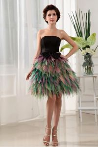 Colorful Strapless Ruffled Wedding Cocktail Party Dresses with Bow