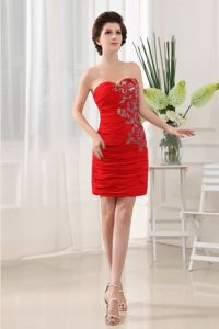 Hot Red Ruched Sweetheart Cocktail Dress for Prom with Appliques
