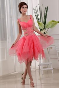 Watermelon Asymmetrical Cocktail Party Dresses with Cutout Waist