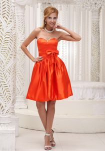Customize Orange Sweetheart Cocktail Dress with Beading and Bow