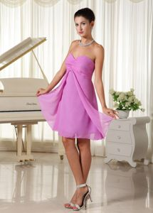 Lavender Zipper-up Ruched Sweetheart Prom Cocktail Dress in Style