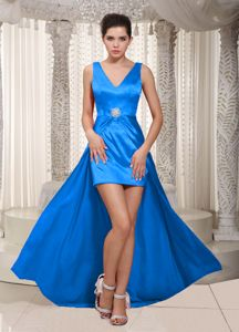 New Style V-neck High-low Satin Evening Cocktail Dress with Beading