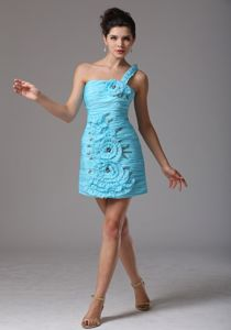 One Shoulder Ruche Beading Cocktail Dress with Hand Made Flowers